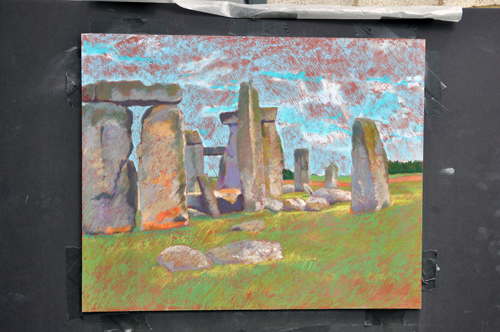 Stonehenge in Soft Pastel on Prepared Surface