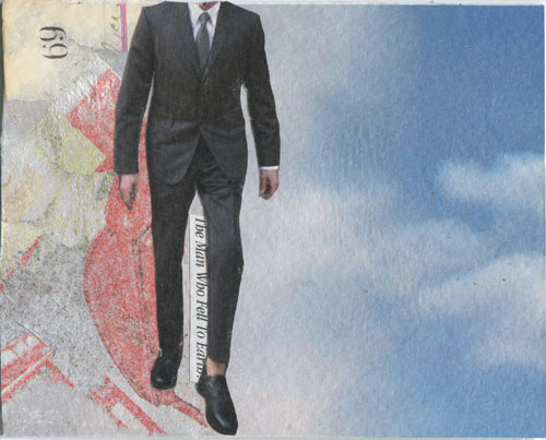 The Man Who Fell to Earth; collage on watercolor paper