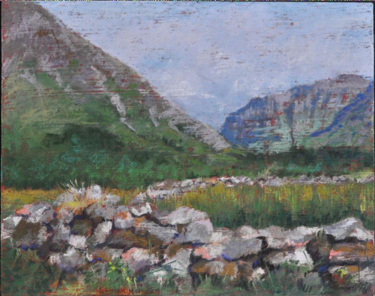 Glen Coe Stone Wall - soft pastel on prepared surface by Deborah Mahnken
