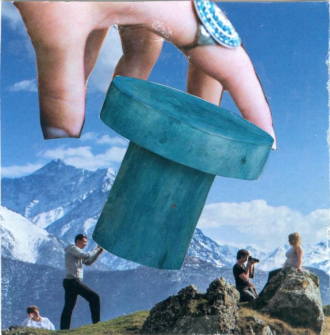 Monochromatic collage by Deborah Mahnken for 30 Days of Creativity Workshop